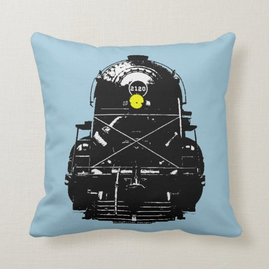 Steam Engine Locomotive Train Throw Pillow