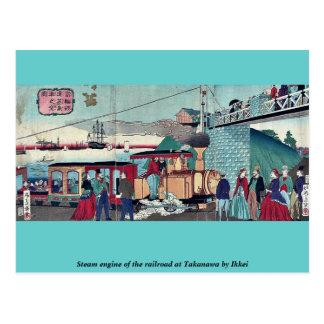 Steam engine of the railroad at Takanawa by Ikkei Postcard