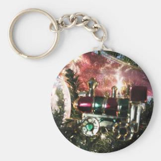 Steam Engine Ornament Christmas Card Basic Round Button Keychain