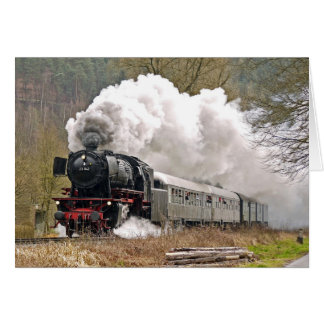 Steam Engine Pulling Cars Card