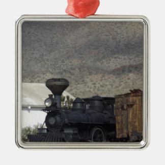 Steam Engine Silver-Colored Square Ornament