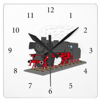 Steam engine square wall clock
