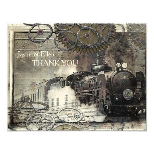 Steam Engine Steampunk Thank You Card