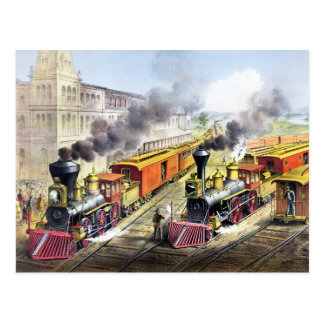Steam Engine Trains Postcard