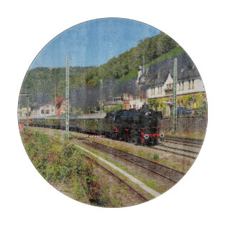 Steam engine with special train in Lorch Cutting Board