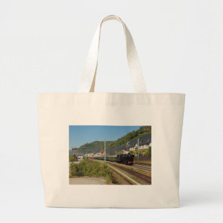 Steam engine with special train in Lorch Large Tote Bag