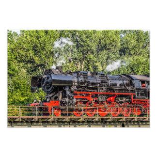 Steam LOCK in full swing over a bridge Photo Print