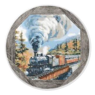 Steam Locomotive Ceramic Door Knob Ceramic Knob