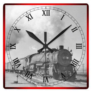 Steam Locomotive* Square Wall Clock