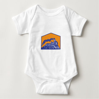 Steam Locomotive Train Coming Crest Retro Baby Bodysuit