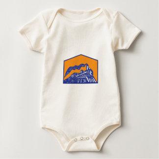 Steam Locomotive Train Coming Crest Retro Baby Bodysuit