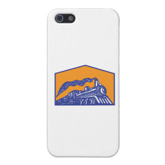 Steam Locomotive Train Coming Crest Retro Cover For iPhone 5/5S