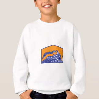 Steam Locomotive Train Coming Crest Retro Sweatshirt