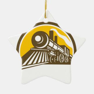 Steam Locomotive Train Icon Ceramic Ornament