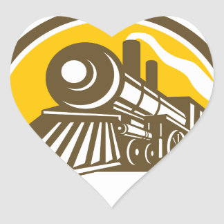 Steam Locomotive Train Icon Heart Sticker