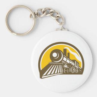 Steam Locomotive Train Icon Keychain