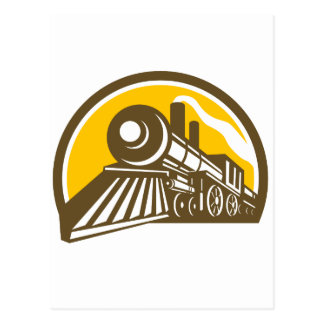 Steam Locomotive Train Icon Postcard