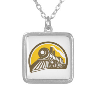 Steam Locomotive Train Icon Silver Plated Necklace