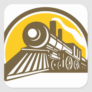 Steam Locomotive Train Icon Square Sticker
