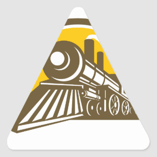 Steam Locomotive Train Icon Triangle Sticker