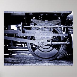 Steam Locomotive Wheel Poster