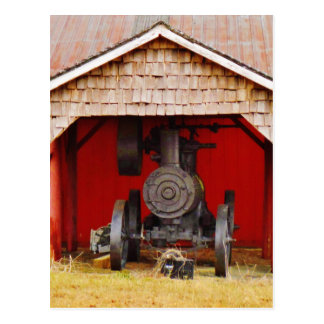 Steam powered Antique Tracter Postcard