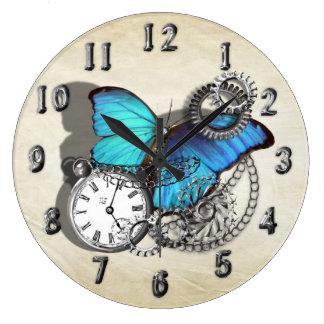 Steam Punk Blue Butterfly Pocket Watch Design Large Clock