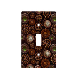 Steam Punk Gears Modern Retro Abstract Pattern Light Switch Cover