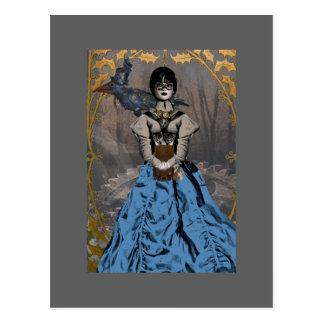 Steam Punk Girl with Mechanical Raven Postcard