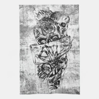 Steam Punk hand illustrated skulls on grunge base Kitchen Towel