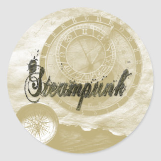 Steam punk vintage fashion art classic round sticker