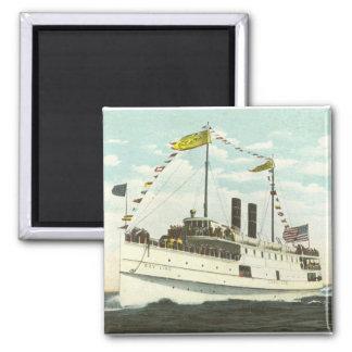 Steam Ship Bay Line - Cape Cod Square Magnet