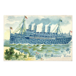 Steam Ship Forget Me Not Clover Photo Print