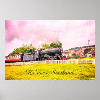 Steam train at the Bo'ness Kinneil Railway, poster