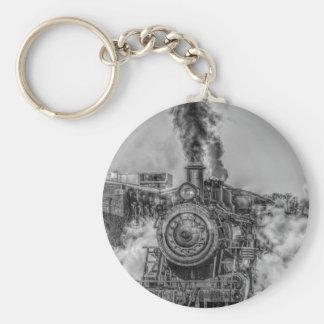 Steam Train Basic Round Button Keychain