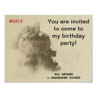Steam Train Birthday Party Invitations