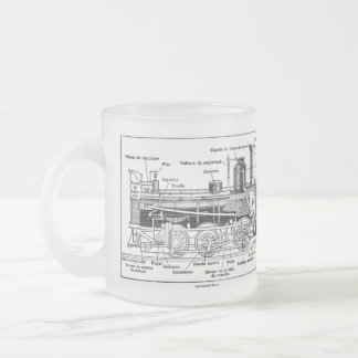 Steam Train Engine Diagram Frosted Glass Coffee Mug