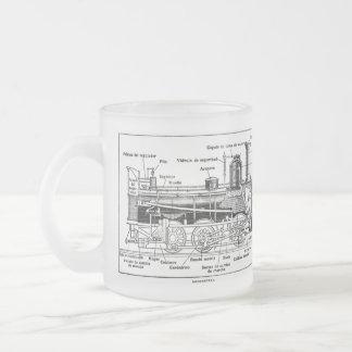 Steam Train Engine Diagram Frosted Glass Mug