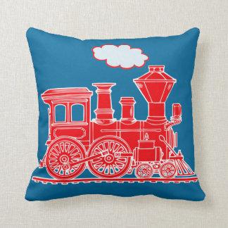 Steam train loco bright red blue throw pillow