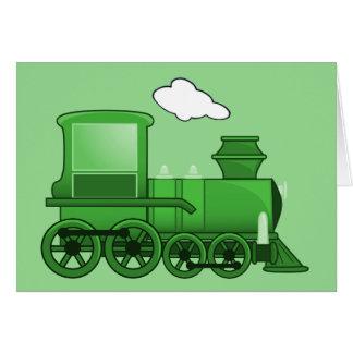 Steam Train Loco Green Art Card