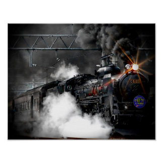 Steam Train Locomotive Poster