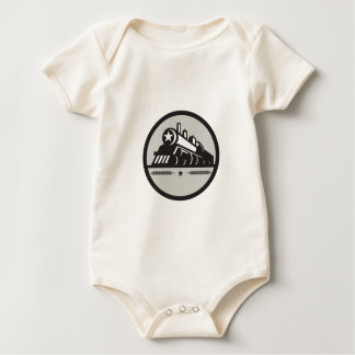 Steam Train Locomotive Star Circle Retro Baby Bodysuit