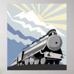 steam train locomotive travelling mountain scene posters