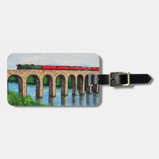 Steam Train on a Viaduct painting Luggage Tag