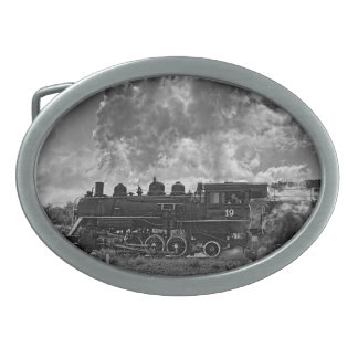 STEAM TRAIN OVAL BELT BUCKLE