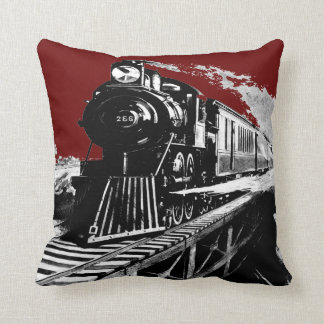 steam train red_black vintage cushion COLOR CHANGE