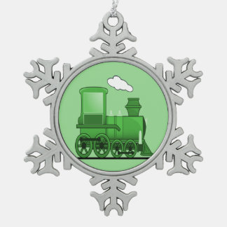 Steam Train Snowflake Pewter Christmas Ornament