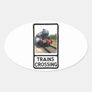 Steam train, vintage railway engine oval sticker