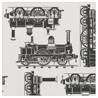 Steam Trains Classic vintage Victorian locomotives Fabric