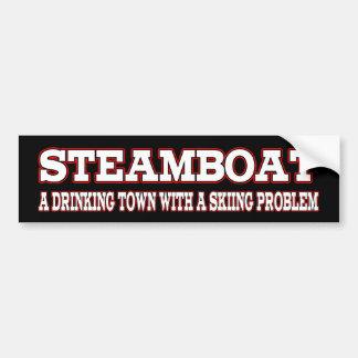 Steamboat Drinking Town Bumper Sticker